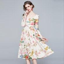 Zuoman feminino primavera & verão elegante vestido floral festa de casamento alta qualidade longo robe femme vinatge designer vestidos