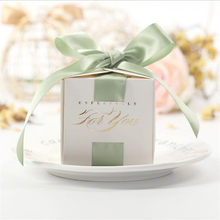 "2.56"" Square Wedding Favor Box Candy Box With Ribbon Classic White Chocolate Boxes Candy Box Guests Wedding Souvenir(China)"