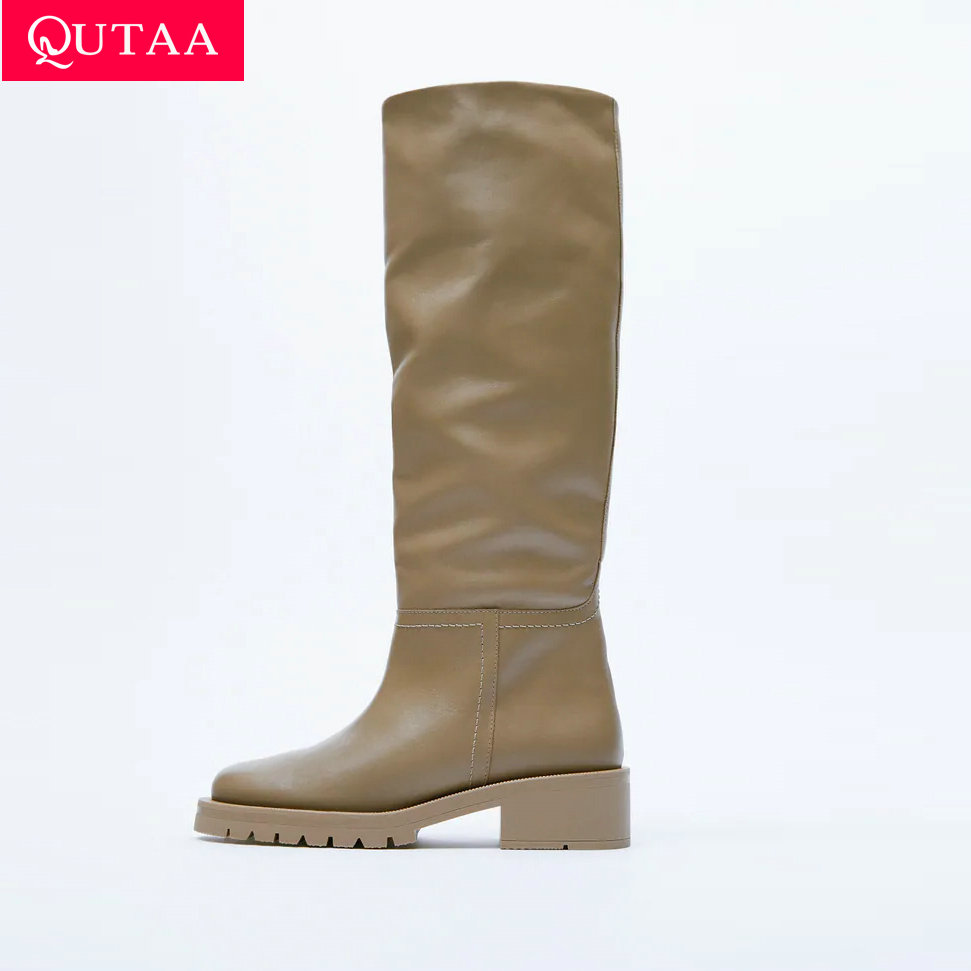 QUTAA  ZA Fashion Women Knee High Boots Full Cow Leather Warm Flats INS Thick High Heels Motorcycle Boots Woman Lady Shoes 34-43