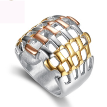 Three color plated finger ring jewelry titanium steel rings fashion casting for women free shipping