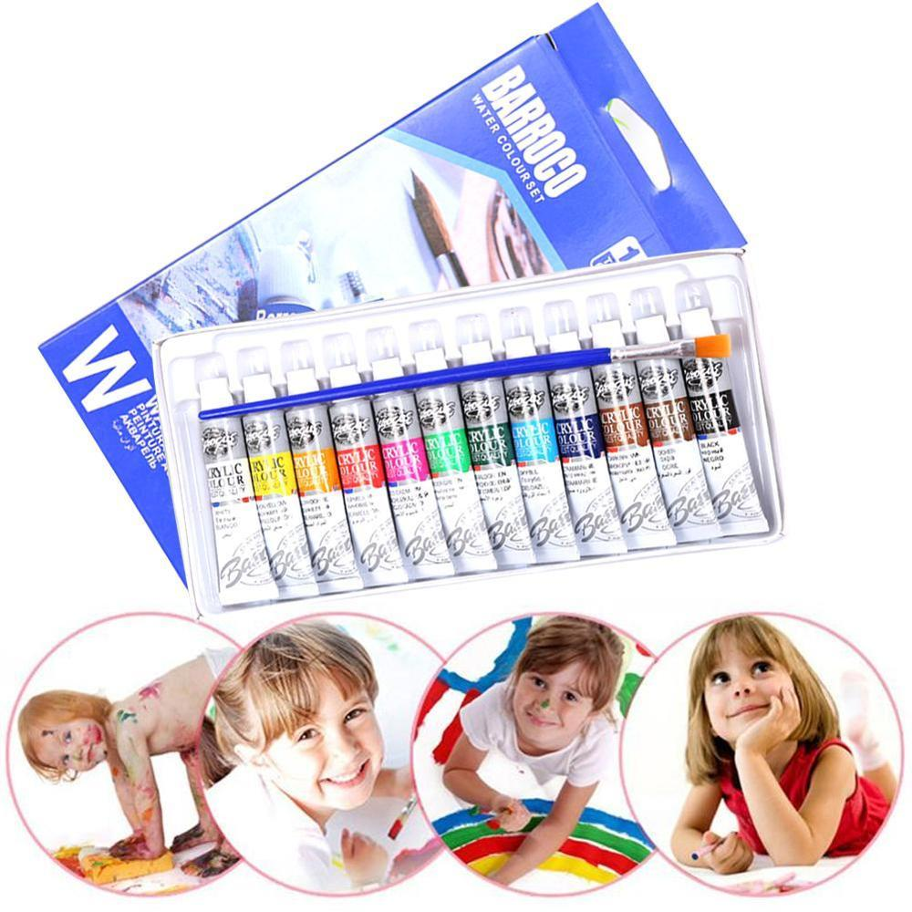 6 ML 12 Color/sets Professional Acrylic Paint Watercolor Set Hand Wall Painting Brush Watercolor Pigment Set