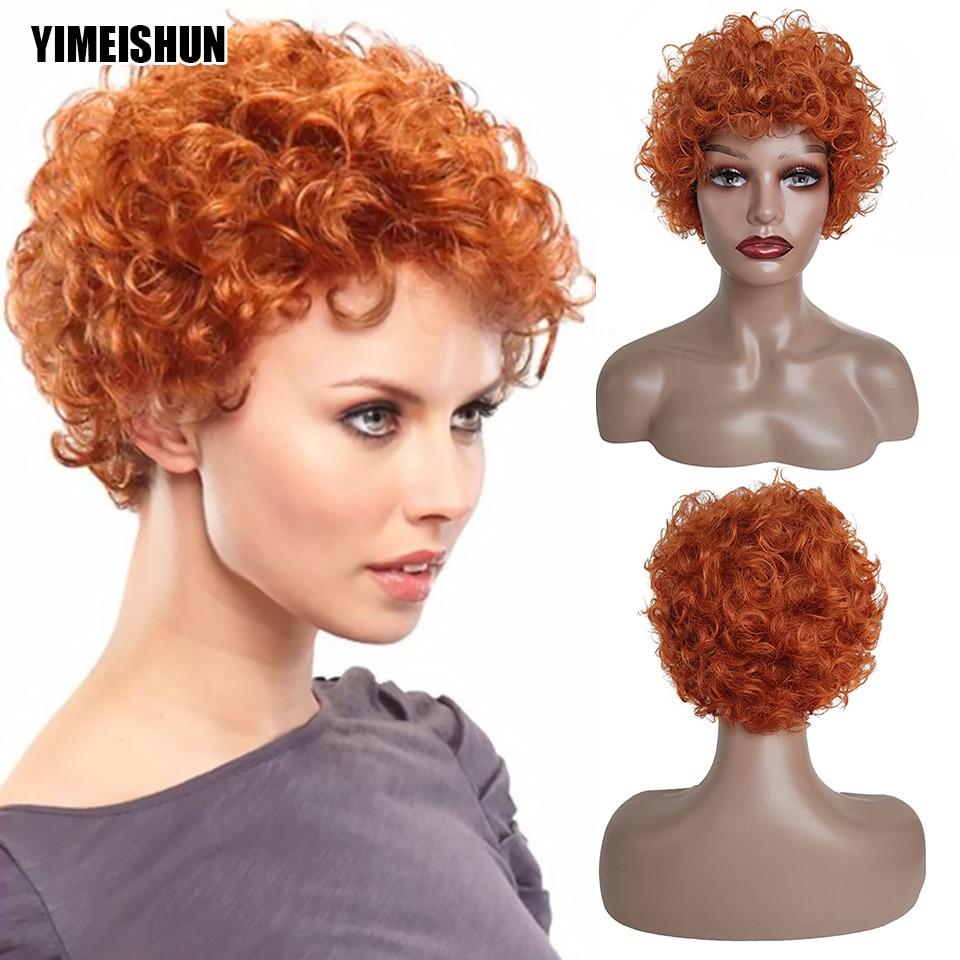 Barato curto perucas de cabelo humano pixie