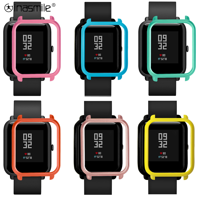 Inasmile Pretty And Cute Cover+ 2pcs Screen Protector For Huami Amazfit Bip  Watch Protector Film Frame Cover Case Accessories