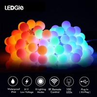 LEDGLE LED 220v EU Plug Ball String Light Garland Fairy Lights Waterproof Holiday Lighting for Christmas Tree Wedding Decor