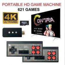 Y2 4k usb sem fio handheld tv vídeo game console construir em 621 clássico jogo 8 bit mini vídeo console suporte av/saída hdmi