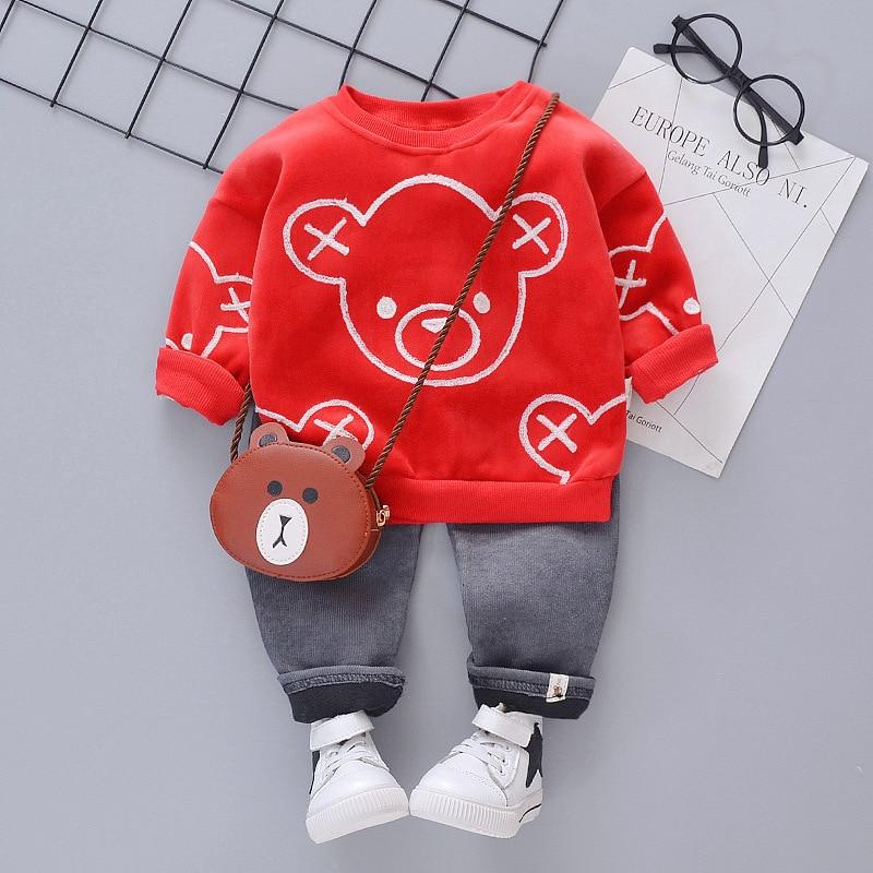 New Spring Autumn Kids Casual Clothes Children Boys Girls Print Cartoon T Shirt Pants 2pcs/sets Baby Toddler Fashion Tracksuits