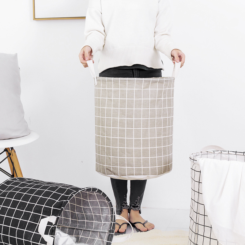 Japanese Style Cotton Linen Laundry Basket Foldable Storage Can Fabric Waterproof Dirty Clothes Toy Storage Basket Laundry Baske