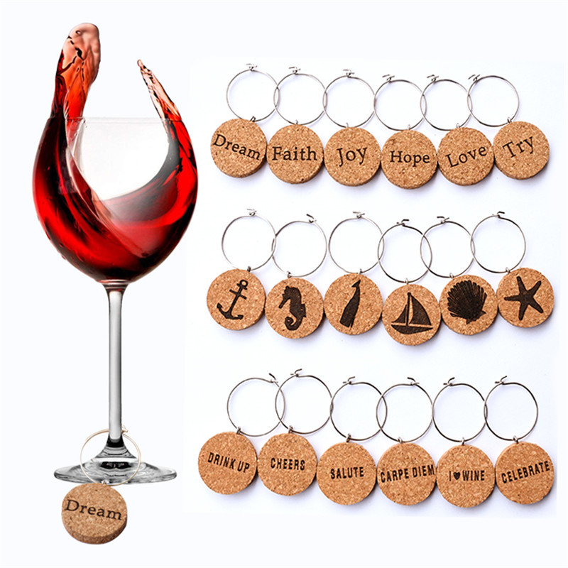Cute 6pcs Flowers Bouquet Wine Glass Markers Charms Drink Markers Labels Party Bar Tools Accessories Wine Charms