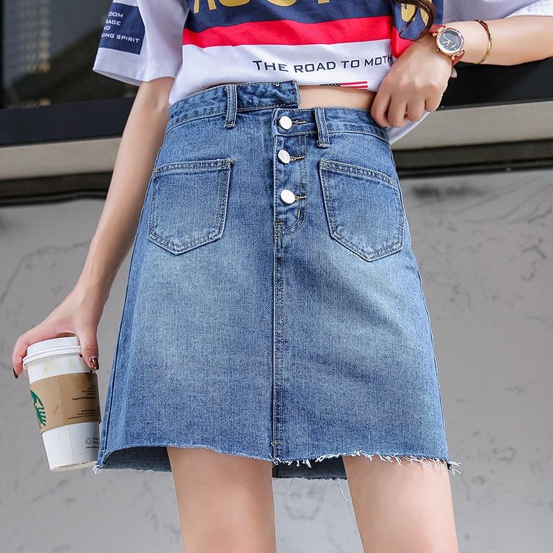 Spring Summer Denim Skirt New Style Retro High-waisted Slimming Denim Skirt Women's Slim Fit Versatile Buckle Skirt Short Skirt