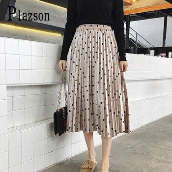 2020 spring summer Skirts Women Fashion Velvet A-Line Pleated Dot Gorgeous Female Casual Elastic Waist Midi Skirts streetwear цена 2017