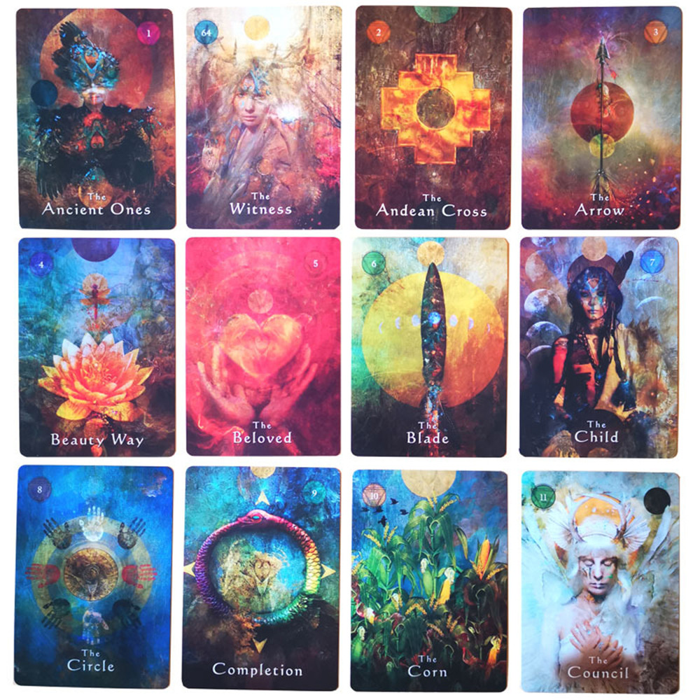 64pcs New Original English Tarot Mystical Shaman Oracle Card Deck Tarot Card Games For Party Personal Entertainmen Game Toy