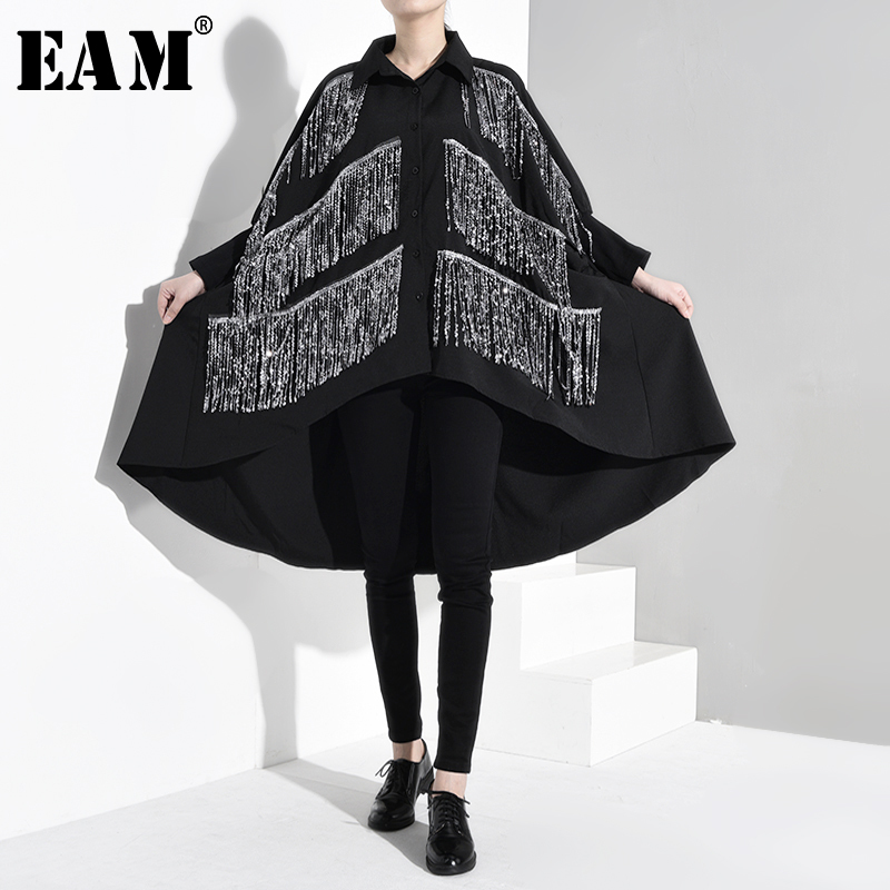 [EAM] Women Black Rhinestone Tassels Big Size Blouse New Lapel Long Sleeve Loose Fit Shirt Fashion Tide Spring Autumn 2020 1B056