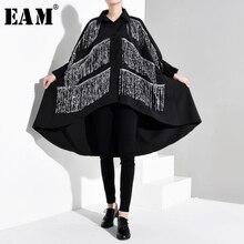 [Eam] feminino preto strass borlas tamanho grande blusa nova lapela manga longa solto ajuste camisa moda maré primavera outono 2019 1b056