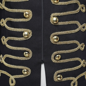 Image 5 - Shenrun Men Black Zipper Blazer Court Military Full Dress Stand Collar Host Singer Dancer Fashion Jacket DJ Party Stage Costume
