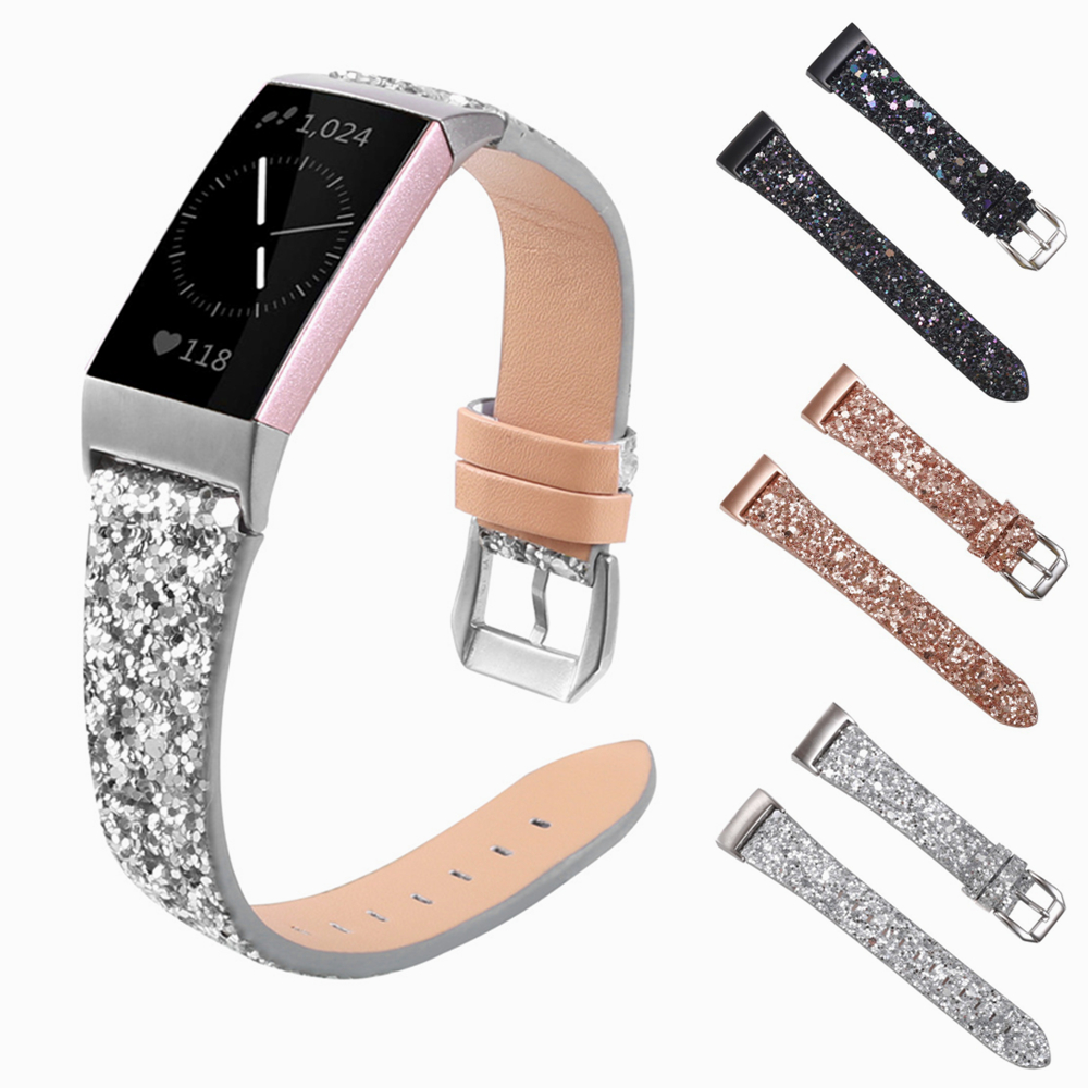 Leather Strap For Fitbit Charge 4 3 Smart Bracelet Band With Sequins Shining Straps Elegant For Fitbit Charge 3 4 Wristband