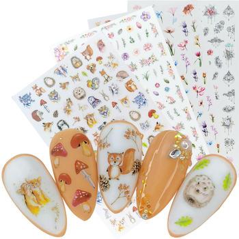 цена на 2020 New Cartoon Rabbit Hedgehog Tiger Dog Image 3D Nail Art Stickers Adhesive Nail Decals Foil Design Manicure Decorations
