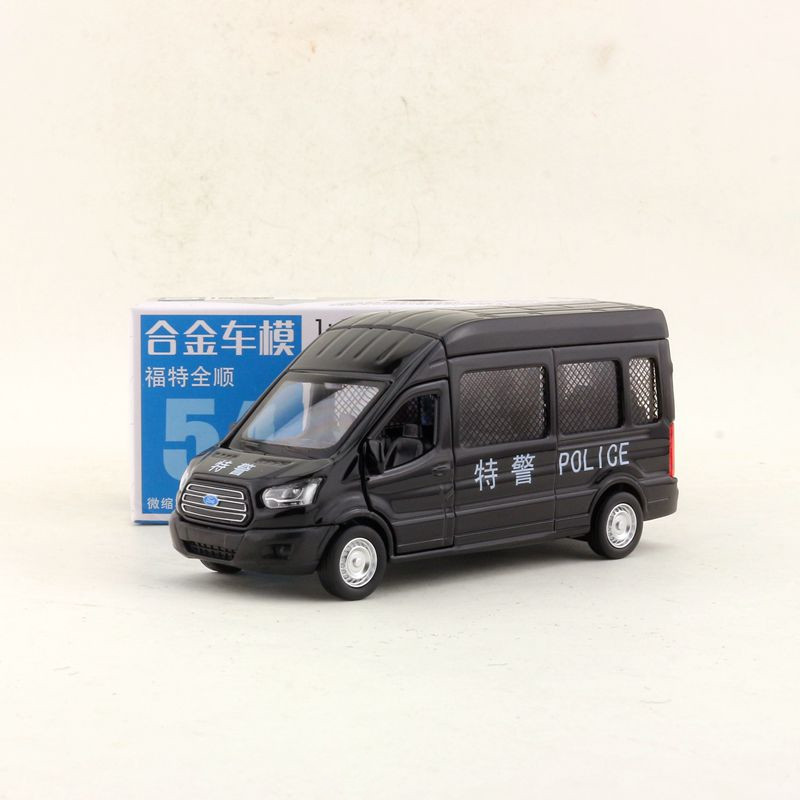 CAIPO 1:42 Scale Ford Transit China Police MPV Alloy Pull-back Car Diecast Metal Model Car For Collection Friend Children Gift