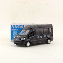 Caipo 1:52 scale ford transit 중국 경찰 mpv 합금 풀백 자동차 다이 캐스트 금속 모델 자동차 컬렉션 친구 어린이 선물