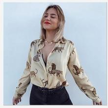 Moda zarif gömlek bluz güz 2020 AutumnSoftand güzel hayvan baskılar Charm Apeal üst elbise ofis bayan