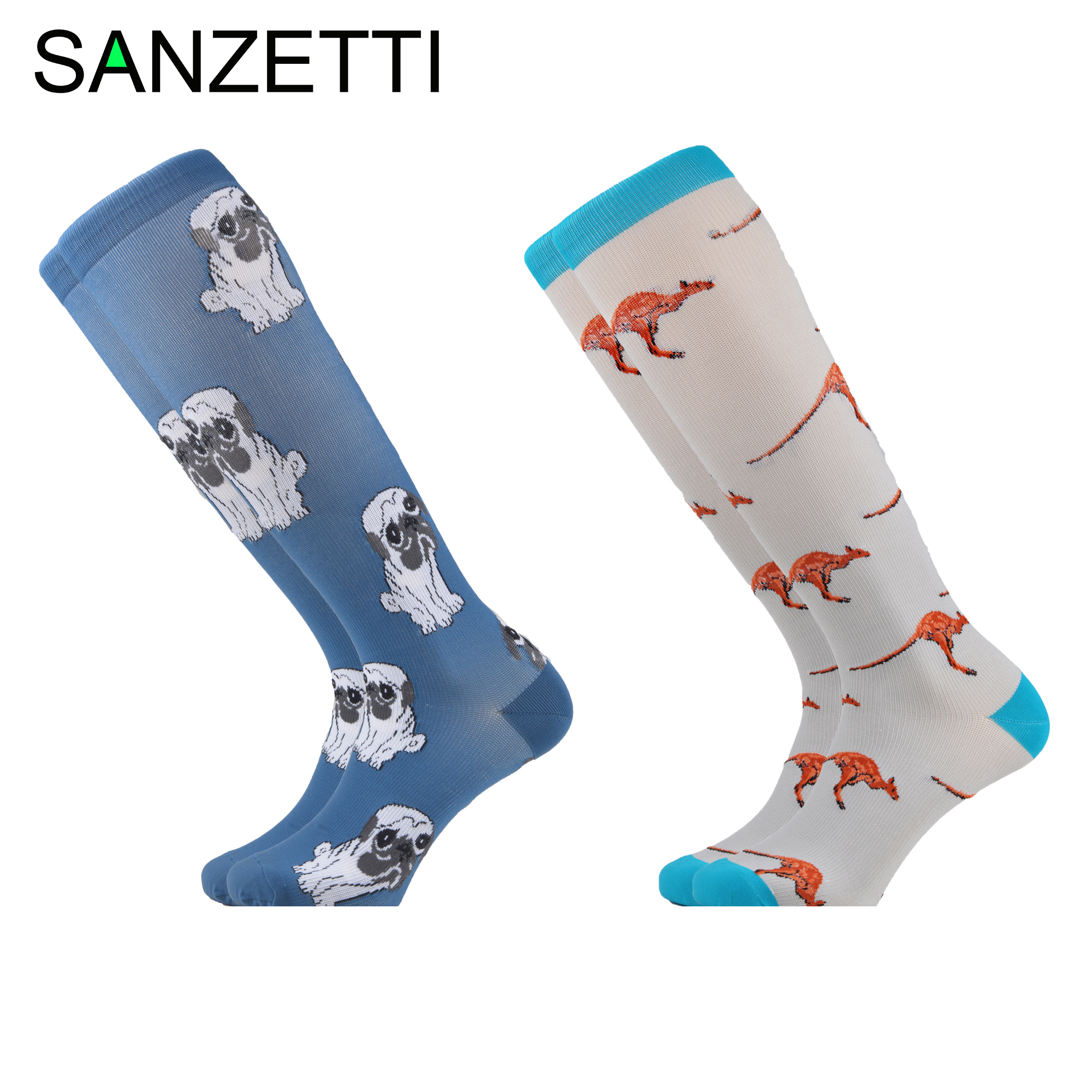 SANZETTI 2 Pairs/Lot Women Leg Support Stretch Combed Cotton Compression Socks Animal Below Knee Anti-Fatigue Long Happy Socks