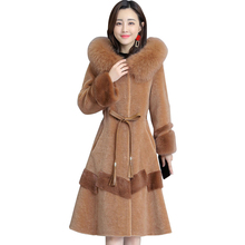 luxury Fox fur collar Hooded Winter Fur Coat Sheep shearing