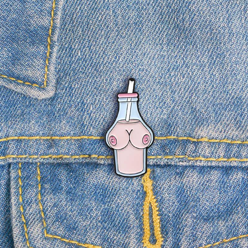 สีชมพูหวานเข็มกลัดหญิงอวัยวะเครื่องดื่มหญิงเต้านมรูปร่างขวดที่ไม่ซ้ำกันเข็มกลัดผู้หญิงของขวัญ Coat Badge Pins