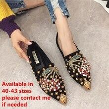SWYIYV 여성 플랫 신발 라인 석 체리 2019 봄 새로운 여성 금속 지적 발가락 Casaul 신발 편안한 아파트 로퍼 신발