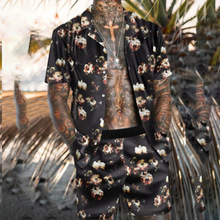 Summer Men 's Sandbeach Leisure Suit HIGH END Light Luxury Short Sleeve Printing Flower Type Slim Fitting Shirt Jogging Suit