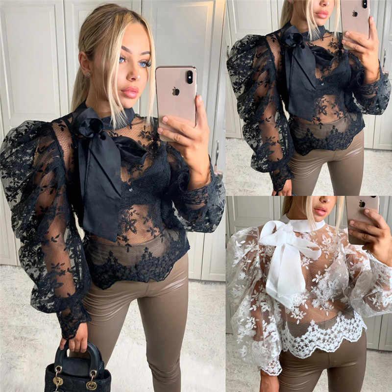 女性セクシーなレース編み薄手パフスリーブシャツブラウス作物トップスちょう結びシャツ生き抜くゆるいカジュアルブラウス