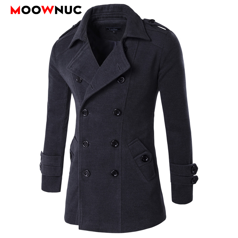 Male Fashion Men's Coats Winter Autumn Windbreaker Solid Woollen Overcoat Business Thick Smart Casual British Style Long Thermal