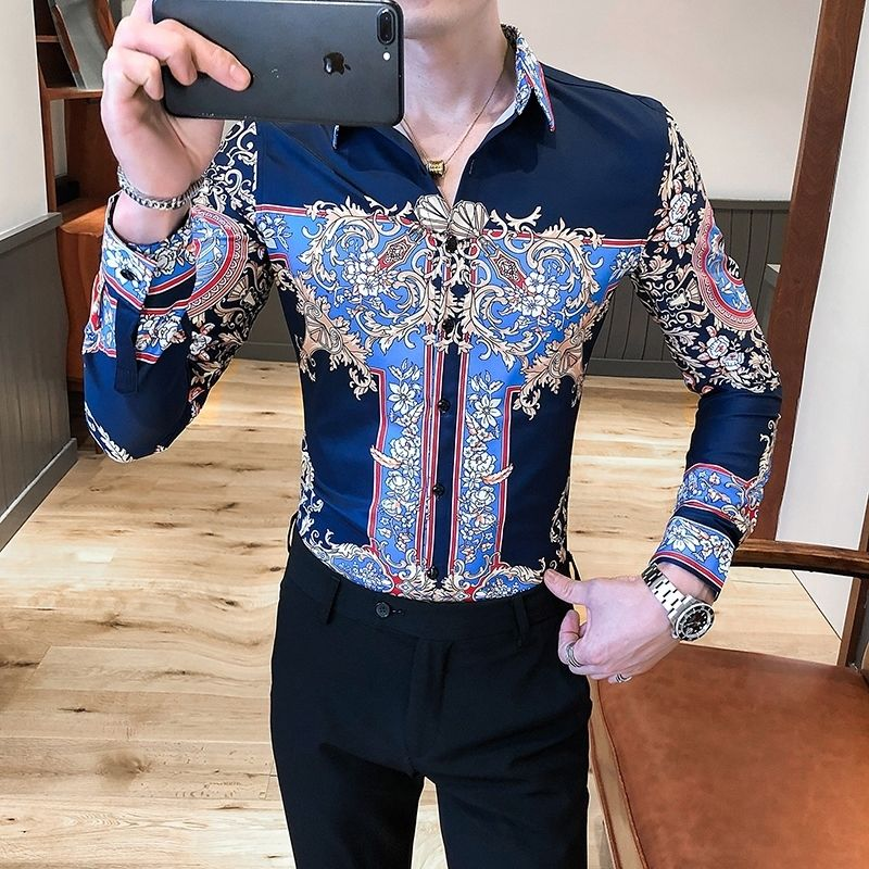 2020 Personalized Print Shirts Men Baroque Slim Fit Club Formal Shirts For Men Camisa Homem Luxury Long Sleeve Flower Shirt Men image