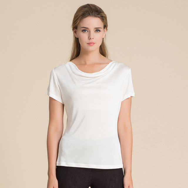 100% Pure Silk Women's T-Shirts Women Cowl Collar Wild Shirts Femme Short Sleeve Tops Woman Casual Tee Shirt Female T Shirts 4