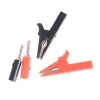 4 unids/set Rojo Negro 55MM cocodrilo Clip + BANANA macho de la sonda de prueba con 4mm Cable con conector Banana Clips zócalo de la batería