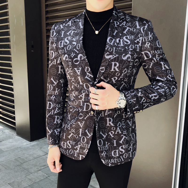 2020 Spring Luxury Mens Blazer Wedding Party Stage Club Letter Print Jacket Chaqueta Hombre Formal Males Suits Blazers Size 5xl