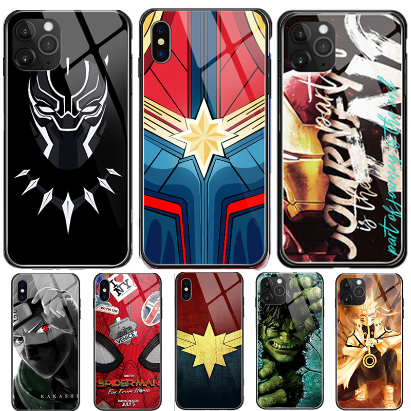 Luxury Marvel Cartoon Anime Naruto Lumious Tempered Glass Phone Case For iPhone 11 Pro MAX XS XR 6 6s 7 8 Plus X Cover