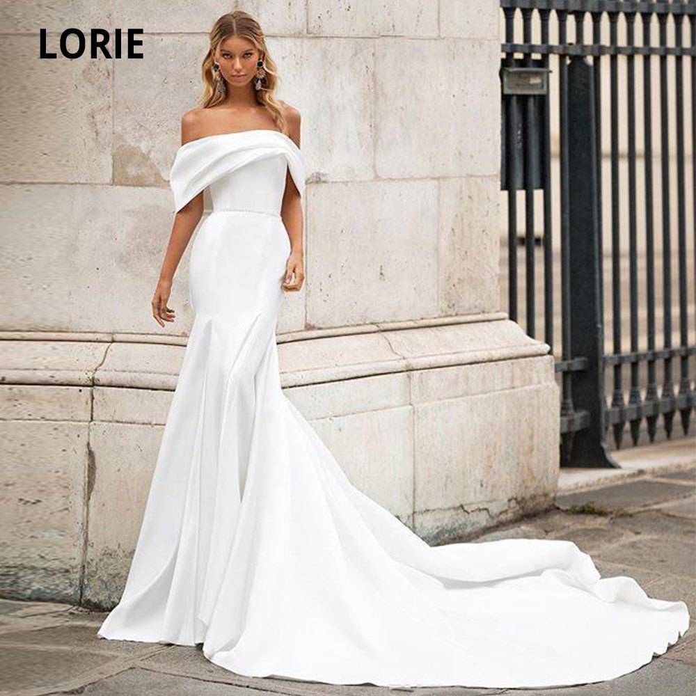 LORIE 2020 Spring Satin Mermaid Wedding Dresses Off The Shoulder Beach Wedding Party Dresses Elegant Bridal Gowns With Train