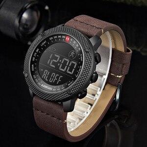 Image 5 - KADEMAN 2019 Luxus Sport Herren Uhren Schritte Zähler LED Digital Uhr 3ATM Mode Designer Casual Leder Armbanduhren Relogio