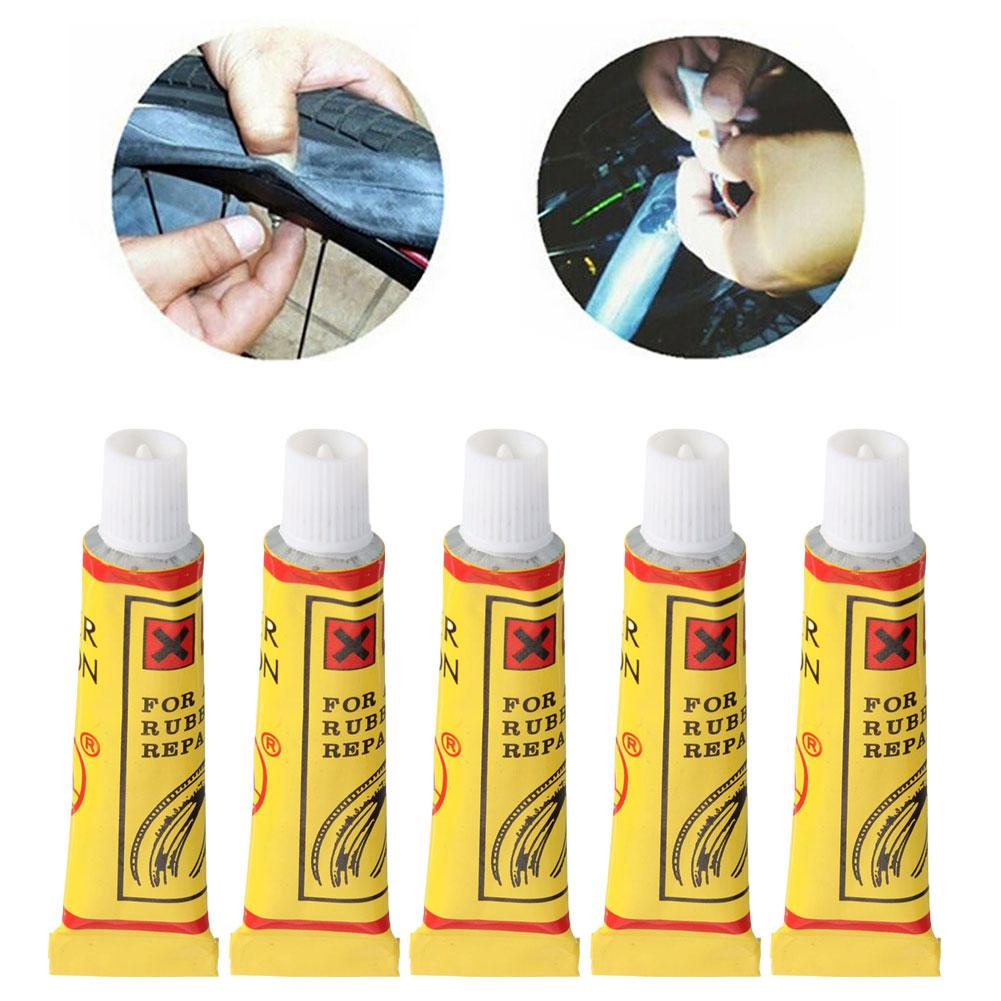 5pcs/pack Cycling Bike Tire Repair Tool Bicycle Tire Inner Tube Patches Glue Rubber Tube Fix Kit