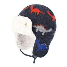 Bomber Hat Boy Winter Knit Beanie Kid Autumn Earflap Dinosaur Cute Warm Skiing Cotton Fleece Outdoor Accessory Toddler Baby