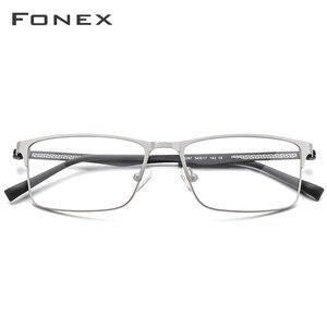 Image 2 - Оптические очки из FONEX сплава, 2019, квадратные очки для близорукости по рецепту, оправа для мужчин, мужские металлические полностью корейские очки, очки 9287