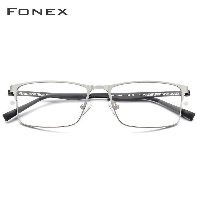 Image 2 - FONEX Alloy Optical Glasses 2019 Square Myopia Prescription Eyeglasses Frame Men Male Metal Full Korea Eyewear Spectacles 9287-in Men's Eyewear Frames from Apparel Accessories on AliExpress