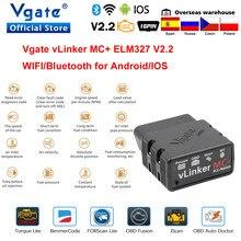 Vgate vlinker mc + elm327 bluetooth 4.0 obd 2 obd2 scanner wifi elm 327 trabalho para bimmercode forscan para android/ios pk obdlink