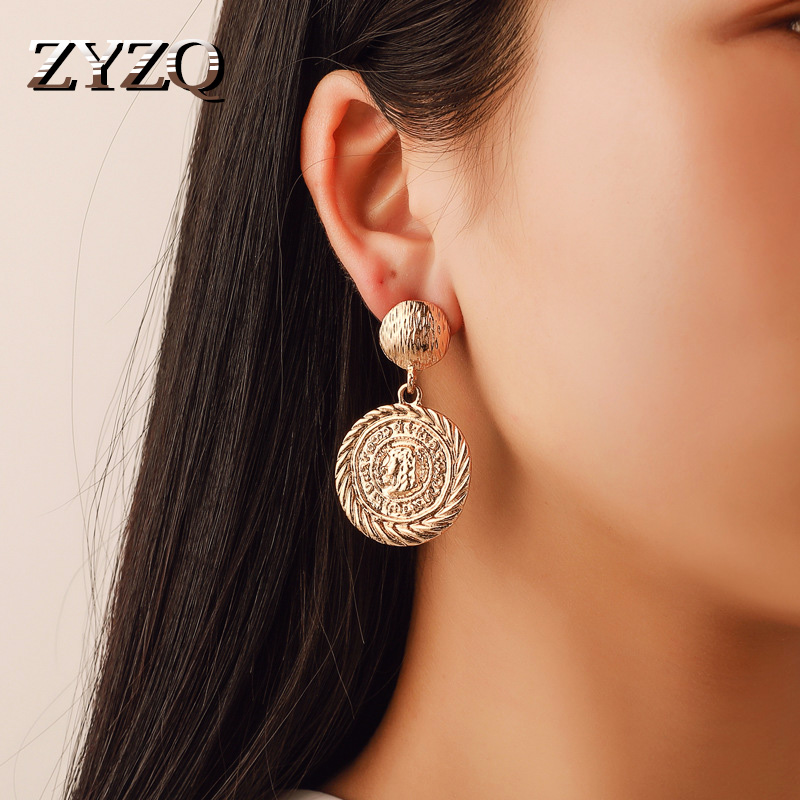 ZYZQ Classic Fashion Luxury Drop Earrings Old Ancient Antique Coin Design Vintage Stylish Jewelry Drop Earrings For Women Trends