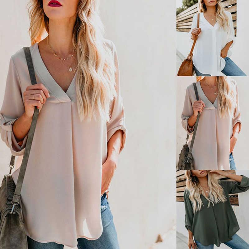 Блузка рубашка Женская Базовая с v-образным вырезом для женщин осенняя Дамская