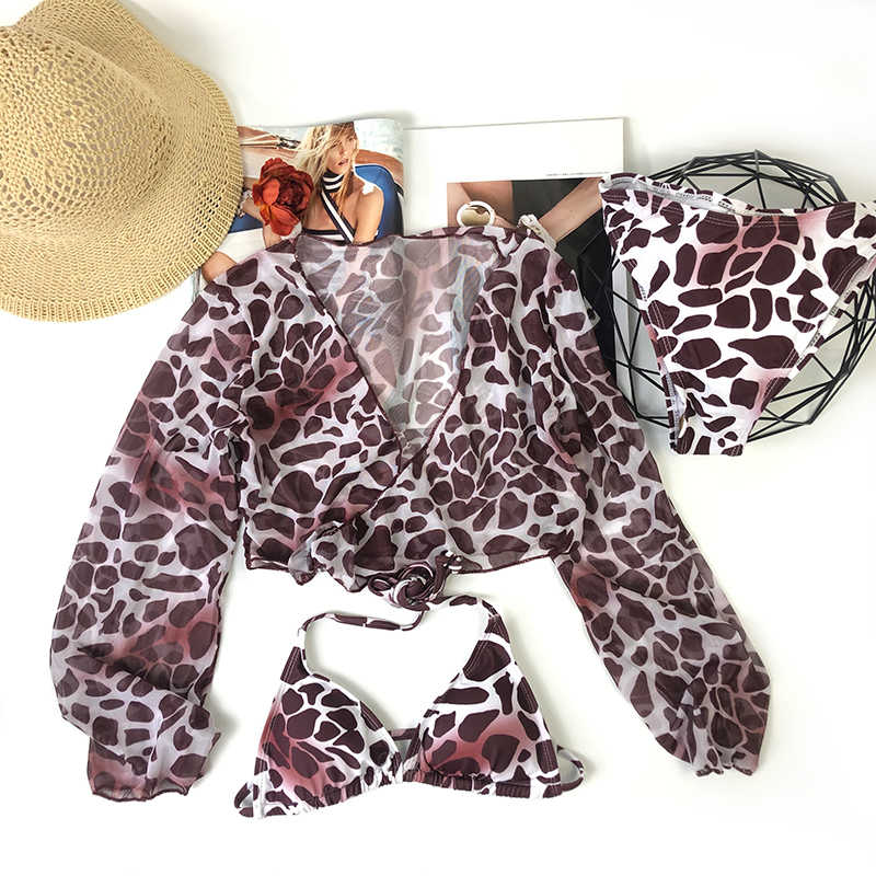 3-Pcs Set Seksi Baju Renang Wanita Baju Renang Leopard Bra Berenang Wear Women 2020 Baju renang Wanita Bikini Set untuk Wanita