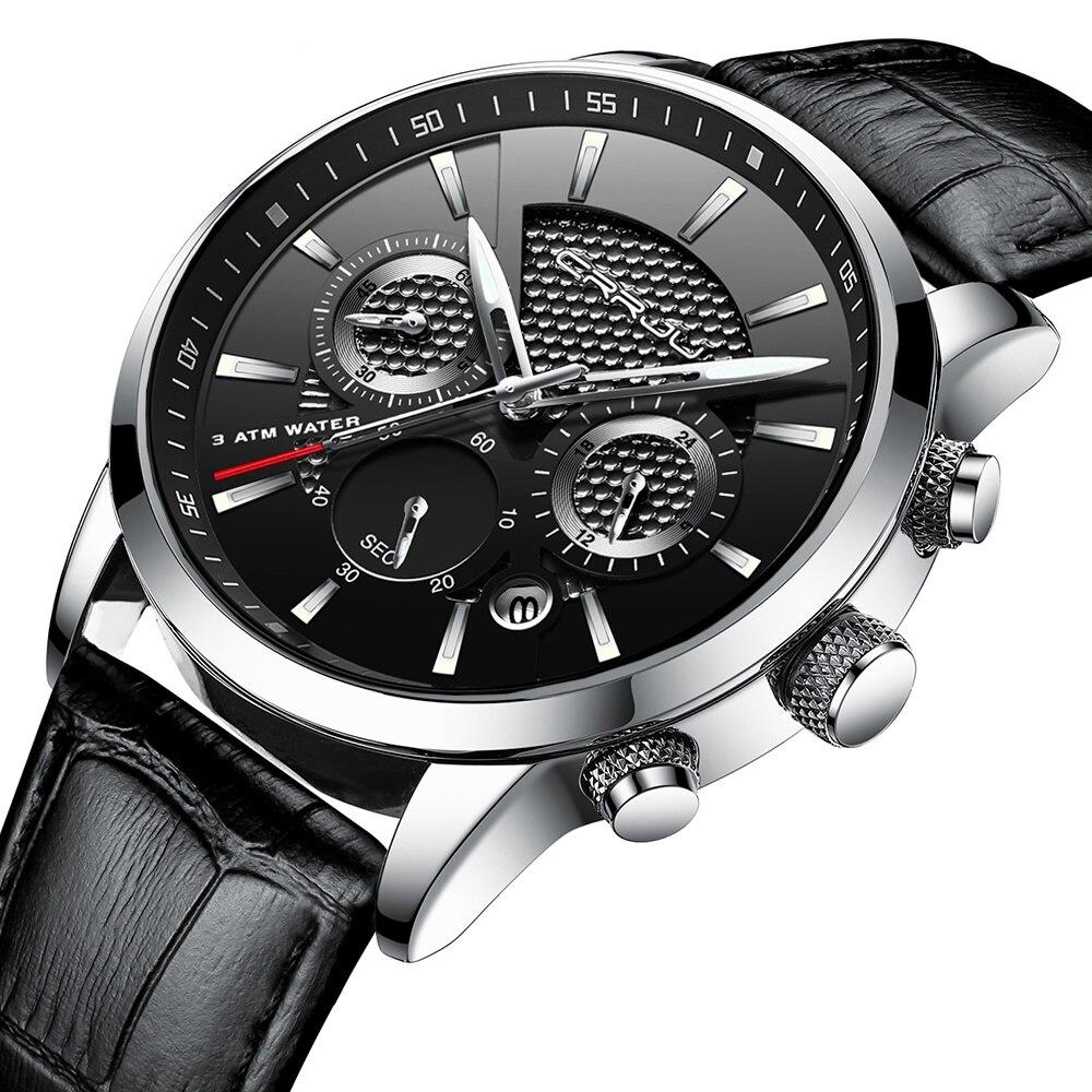 CRJU 2018 Novo Luxo Relógio de Quartzo Dos Homens Relógios Do Esporte Dos Homens Ao Ar Livre Relógios Chronograph Relógio de Pulso Relógio de Couro Relógio de Pulso
