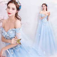 Blue Deluxe Evening Party Dress Wedding Ball Gowns Sleeveless Off the Shoulder Bridal Dress For Women Plus Size 5XL 6XL 4XL