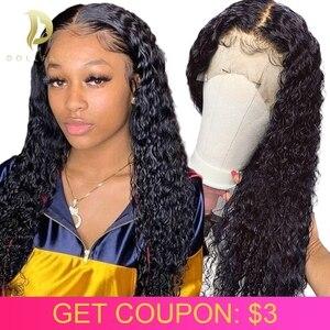 curly human hair wig bob lace front human hair wigs for Black Women brazilian deep wave frontal short 30 inch water full long(China)
