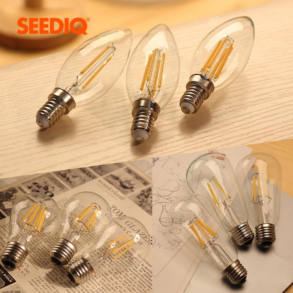 Lâmpada led e27 regulável 220 v edison do vintage lâmpada led 2 w 4 6 8 a60 st64 c35 e14 luz de vela 110 v e12 retro filamento lâmpada