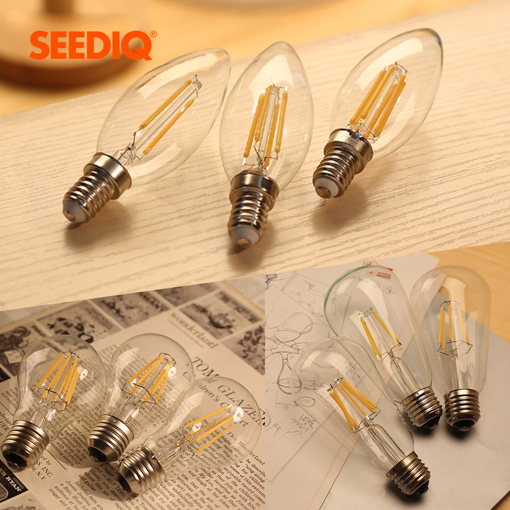 Led Bulb E27 Dimmable 220V Vintage Edison Led Lamp 2W 4W 6W 8W A60 ST64 C35 E14 Candle Light 110V E12 Retro Filament Light Bulb